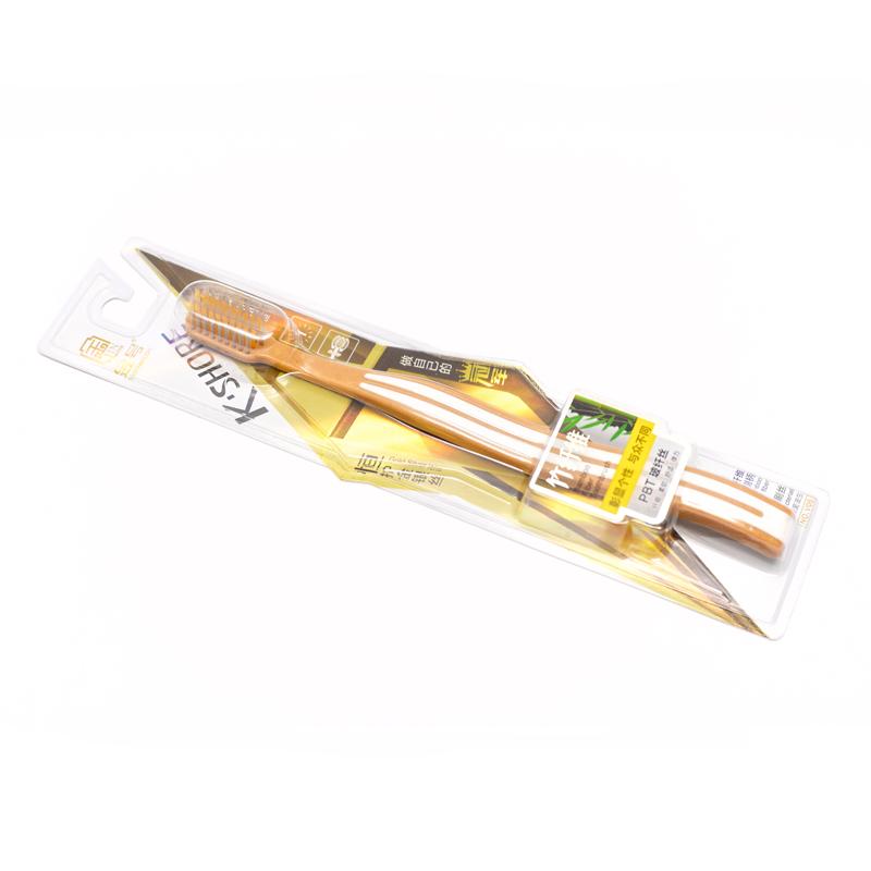 Bambuko pluošto dantų šepetėlis su auksu ir sidabru dengtais šereliais